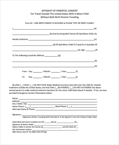 Child Travel Consent Form Sample   Free Documents In Word Pdf