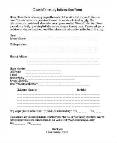 church directory contact information form