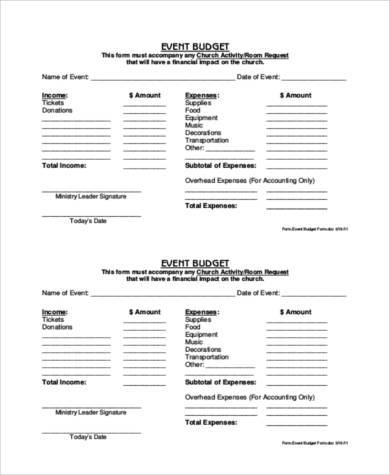 church event budget form