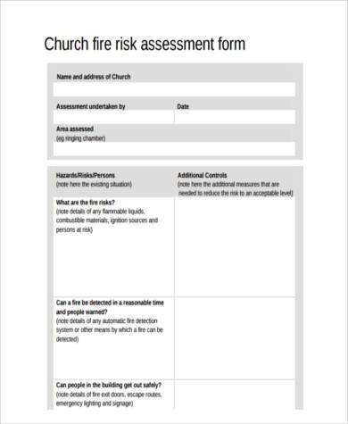 church fire risk assessment form