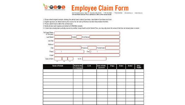 Free 9 Sample Claim Forms In Pdf Ms Word