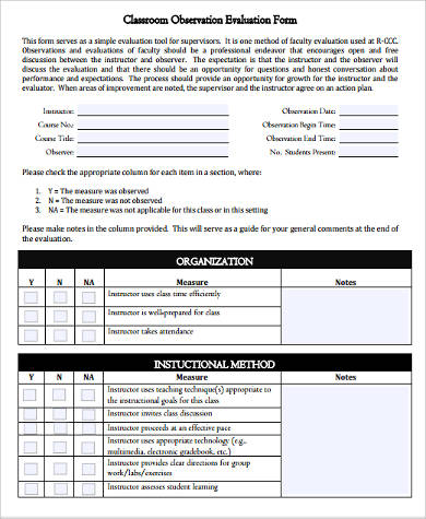 class observation evaluation form