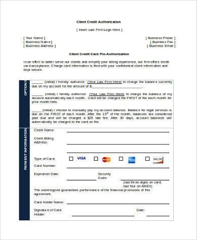 client credit authorization form