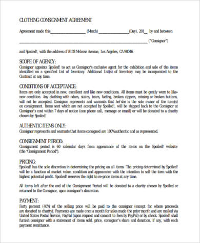 clothing consignment agreement form