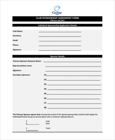 Sample sponsorship agreement forms 8 free documents in pdf club sponsorship agreement form altavistaventures Image collections