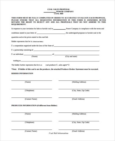 coal sales proposal form
