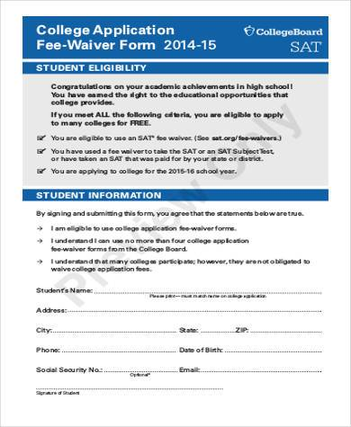 college fee waiver form