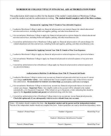 college financial aid form