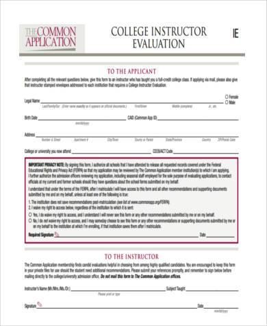 college instructor evaluation form