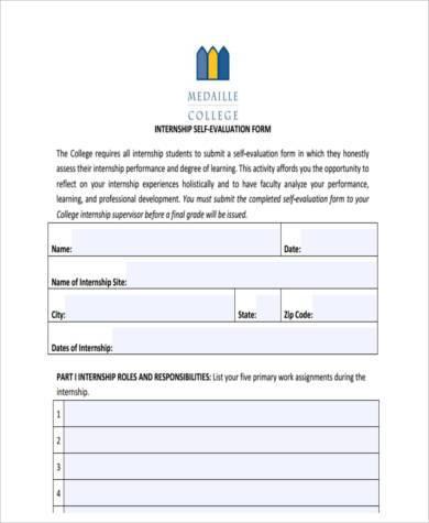 college internship evaluation form