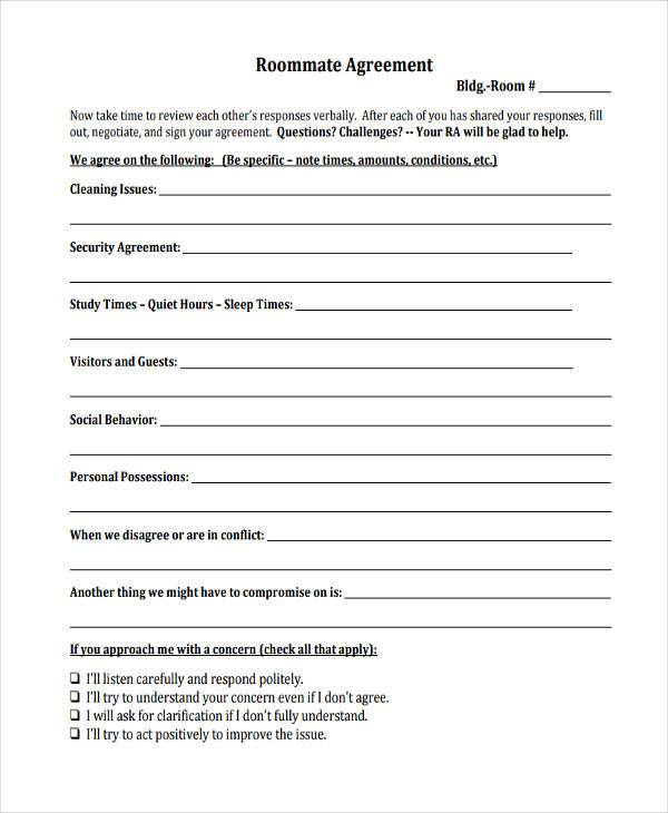8 Sample Roommate Agreements Free Sample Example Format Download