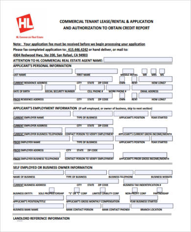 commercial lease credit application form - Tenant Lease Form