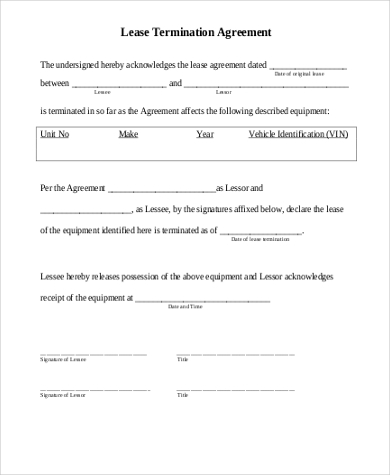 Sample Termination Of Lease Agreement   Free Documents In Word Pdf