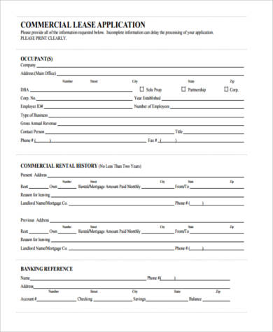 commercial office lease application form. Resume Example. Resume CV Cover Letter