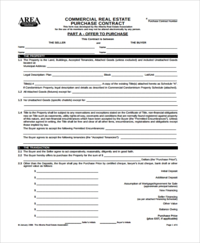 commercial purchase offer form
