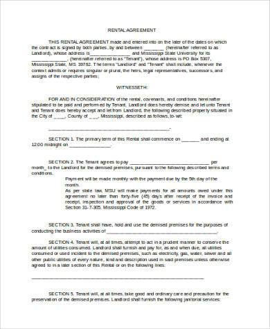 commercial rent agreement form