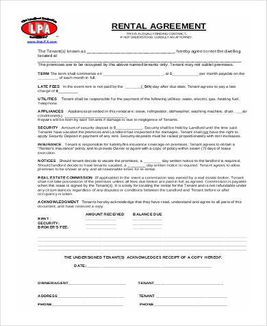 commercial rental agreement short form