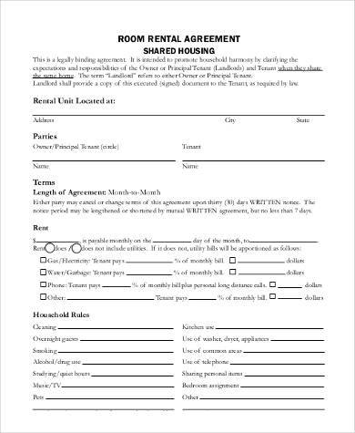 room rental agreement shared housing