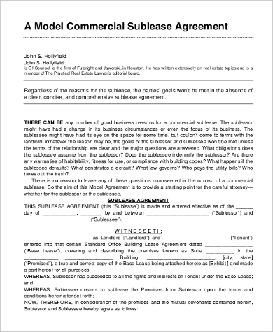 Commercial Sublease Agreement Form