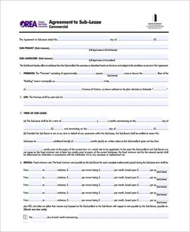 Sublease Agreement Sample Forms 8 Free Documents In Pdf