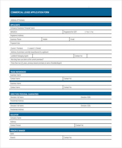 Commercial Lease Application Form In PDF