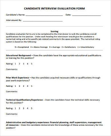 communication interview evaluation form
