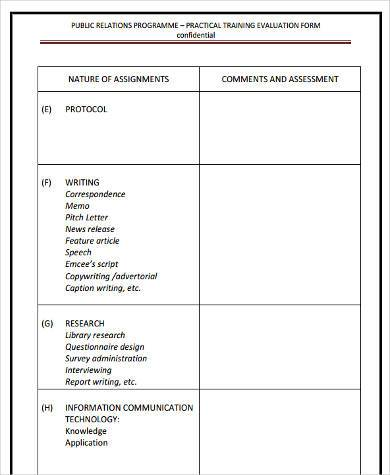 communication training evaluation form