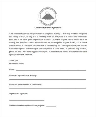community service agreement form