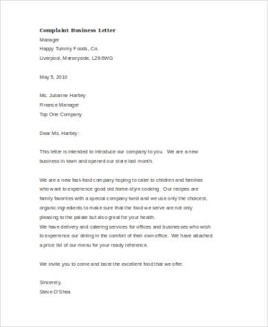 Complaint Letter To Manager from images.sampleforms.com