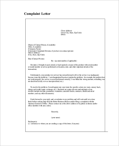 Sample complaint letter 8 free documents in word pdf complaint letter example altavistaventures Gallery