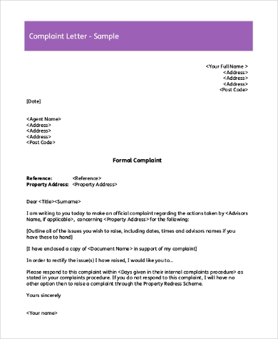 Sample Complaint Letter   Free Documents In Word Pdf