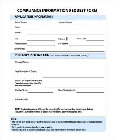 compliance information request form