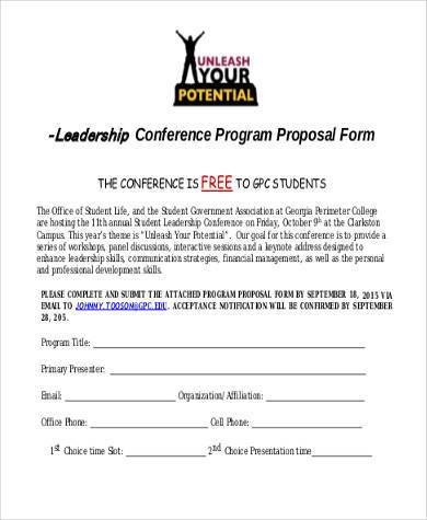 Sample Conference Proposal Forms   Free Documents In Word Pdf