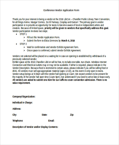 conference vendor application form