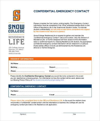 confidential emergency contact form