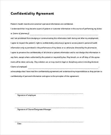 Confidentiality Agreement Form Samples   Free Documents In Word