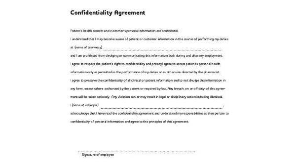 Free 9 Confidentiality Agreement Form Samples In Pdf Word