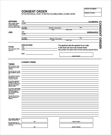 Sample Consent Order Forms   Free Documents In Word Pdf