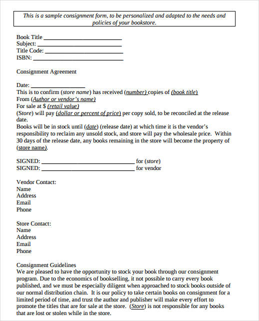 Consignment Agreement Form Samples   Free Documents In Pdf