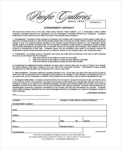 Consignment Contract Form In PDF  Consignment Contracts Template