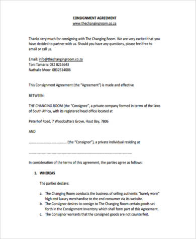 Consignment Agreement Form Samples 9 Free Documents In Pdf
