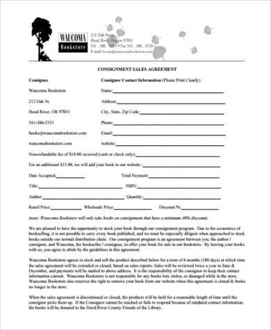 consignment sale contract form