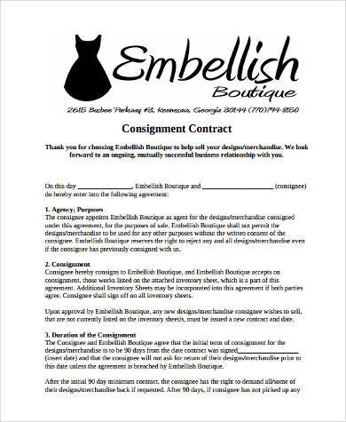 Consignment Shop Contract Form  Free Consignment Contract Template