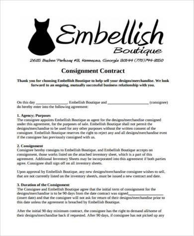 consignment shop contract form1