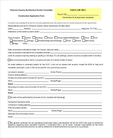 construction application form example