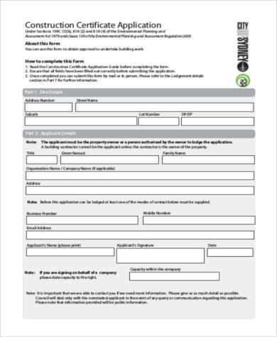 construction certificate application form