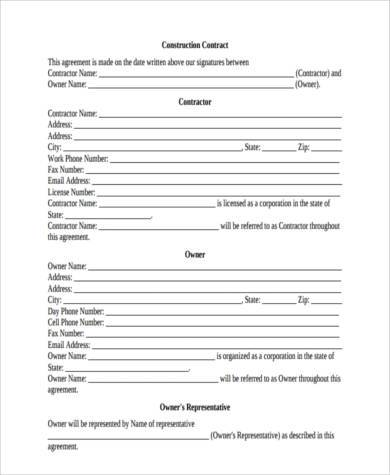 construction contract form