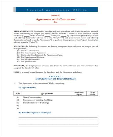 construction contractor agreement form