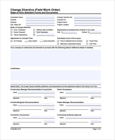 Sample Construction Work Order Forms - 7+ Free Documents In Word, Pdf