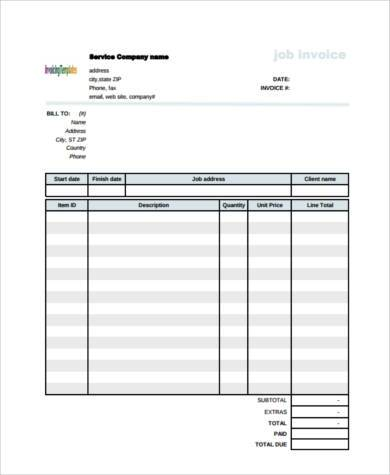 construction job invoice form